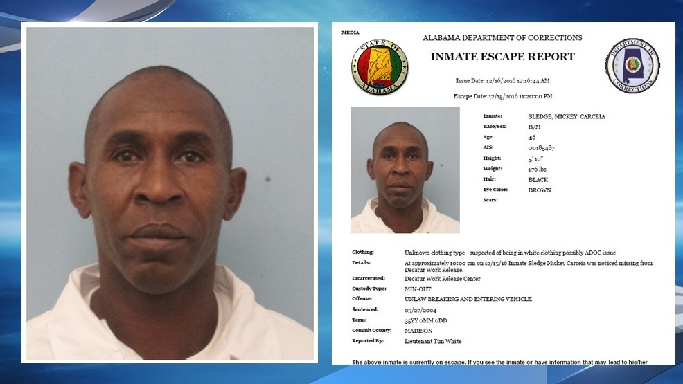 Inmate escapes from Decatur work release center | WBMA