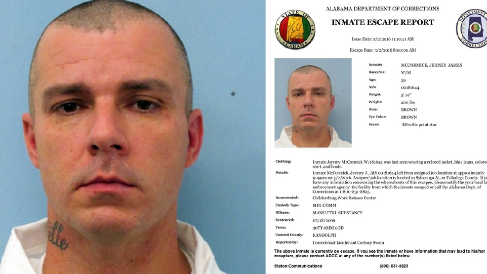 ADOC searching for inmate who escaped work release in
