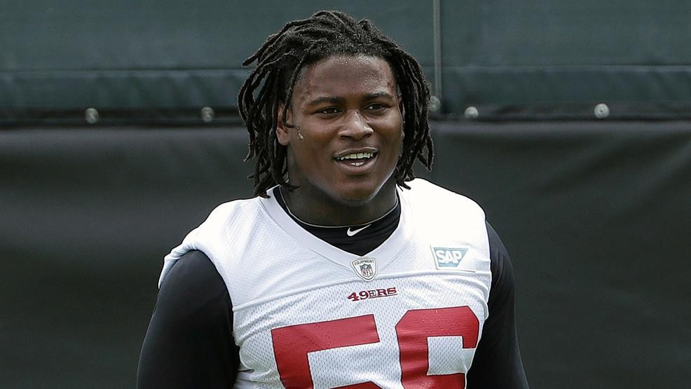 8eda19475 FILE - In this May 30, 2018, file photo, San Francisco 49ers linebacker  Reuben Foster walks on the field during a practice at the team's NFL  football ...