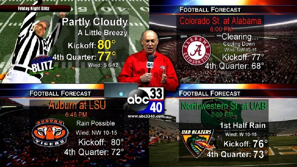 James Spann's weather forecast for high school, college